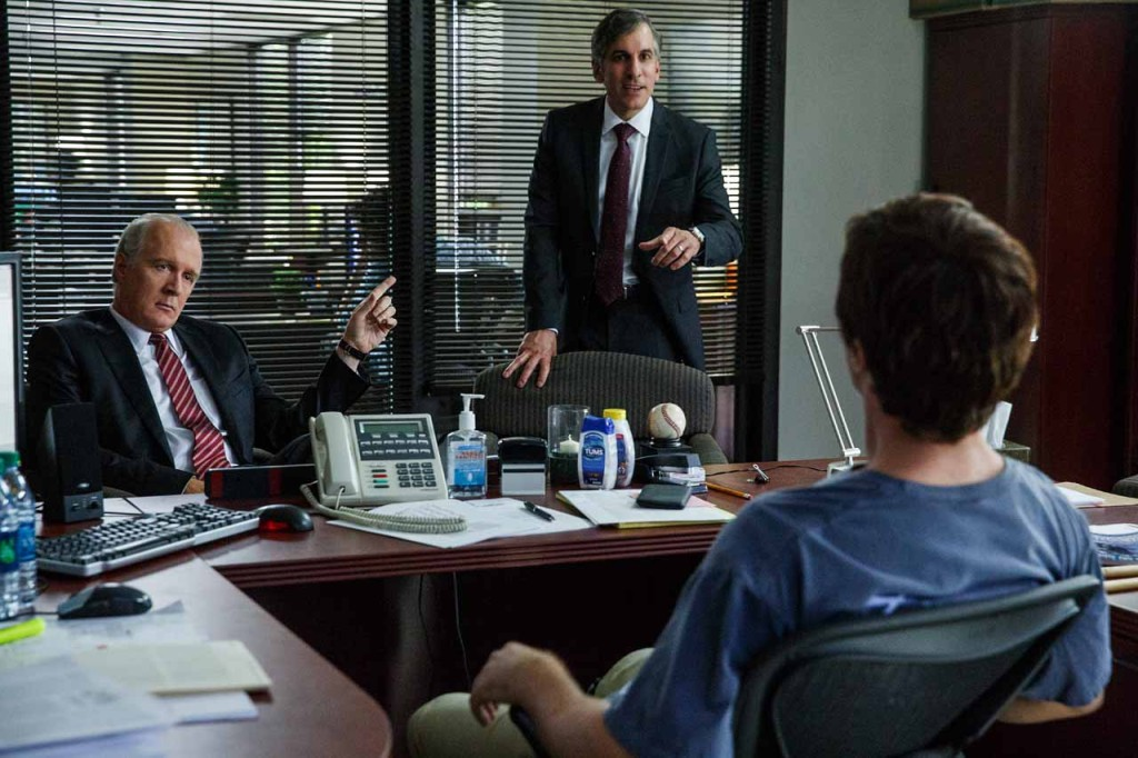 Left to right: Tracy Letts plays Lawrence Fields, Wayne Pere plays Martin Blaine and Christian Bale plays Michael Burry in The Big Short from Paramount Pictures and Regency Enterprises